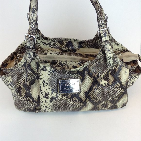 Nicole Miller Faux Python Shoulder Bag